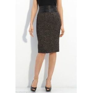 Lafayette 148 NY Wool Skirt Leather Banded Waist